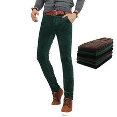 b91262c4abb93 Pas cher Hiver Fashion Designer Mens Casual Slim Fit Stretch pantalons en  velours côtelé haute Quality100 % coton Skinny pantalons pour hommes homme  28 36, ...