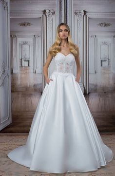 Strapless Princess/Ball Gown Wedding Dress  with Natural Waist in Lace. Bridal Gown Style Number:33475377