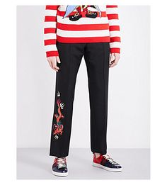 GUCCI Dragon-Embroidered Regular-Fit Wool And Mohair-Blend Pants. #gucci #cloth #pants & shorts
