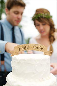 wooden sign cake topper