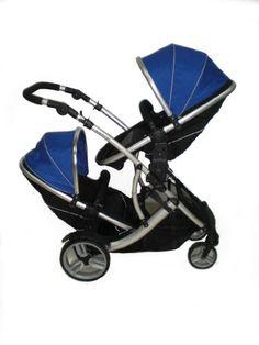 Kidz Kargo Duellette 15 gemelar Twin/Duo Silla de Paseo completa con 2 unidades de sillas, 2 x sillas de coche de 0 meses, 2 x protectores de lluvia gratis, 2 sacos de abrigo para la sillas de carritos y de coche y bolso cambiador de lujo, color azul y negro
