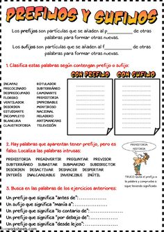 Prefijos y sufijos Interactive worksheet Grammar Book, Spanish Grammar, Spanish Language Learning, Spanish Teacher, Dual Language Classroom, New Classroom, Spanish Classroom, Spanish Anchor Charts, Spanish Teaching Resources
