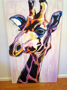 Massive, awesomely colourful giraffe face. Gouache and charcoal on canvas. 910mm wide x 1520mm high. $375