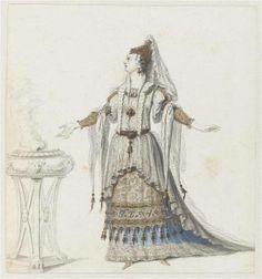 """Recueil """"Costumes des Fêtes, Mascarades - Théâtre de Louis XIV"""" - Jean I Bérain (1640-1711) - Projet de costume d'opéra: Prêtresse – Paris, Musée du Louvre"""