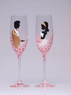 Pintado a mano boda tostado flautas Set de 2 por pastinshs en Etsy