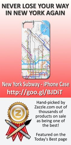 New York Subway - iPhone Case. Featured as one of the best by Zazzle. #iPhone #iPhone5 #case #gift #NewYork #map #subway