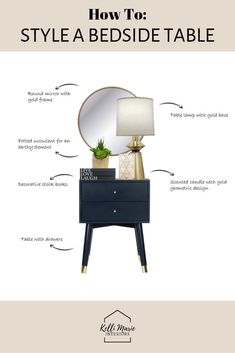Styling Tips: How to Style a Bedside Table. Learn how to style your nightstand using my 6 step system. Learn how to style a bedside table using my 6 step system. This will teach you how to decorate a bedside table simply and easily to avoid any clutter. Interior Design Tips, Interior Styling, Interior Blogs, Interior Decorating Styles, Interior Sketch, Foyer Decorating, Cafe Interior, Interior Paint, Modern Interior