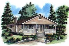 Ranch Style House Plan - 2 Beds 1 Baths 849 Sq/Ft Plan #18-161 Exterior - Front Elevation - Houseplans.com