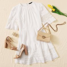 To find out about the Gathered Neck Guipure Lace Insert Dress Without Belt at SHEIN, part of our latest Dresses ready to shop online today! Girly Girl Outfits, Cute Casual Outfits, Blazer Outfits Fall, Kpop Fashion Outfits, Womens Fashion, Short Frocks, Summer Outfits For Teens, Korea Fashion, Professional Outfits