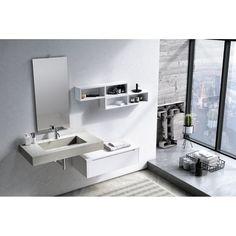 Dark Wood Bathroom, Modern Bathroom, Classic Bathroom Furniture, Bathroom Interior, Open Shelving Units, Free Standing Vanity, Cabinet Parts, Cement Color, Wall Mounted Vanity