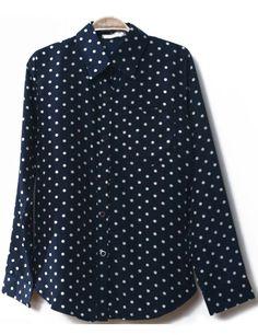 Navy Lapel Long Sleeve Polka Dot Blouse US$19.87