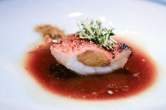 Ichiban Dashi Soup with Asajime Pike Eel, Fried Eggplant, and Fragrance of Aoyuzu and Miyoga Food and Chef Photos: Chef Seiji Yamamoto of RyuGin - Tokyo, Japan