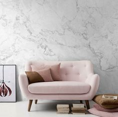 Interior Design Idea - 7 Ways To Bring A Touch Of Marble To Your Living Room // White Marble Removable Wallpaper