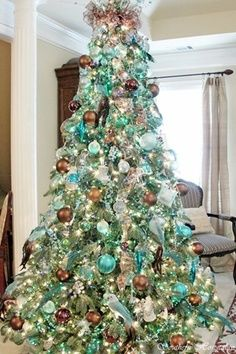 Coastal Christmas tree,Turquoise, Aqua And Teal