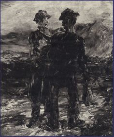 The Two Travellers, detail in oil, by Jack B. Irish Painters, Jack B, William Butler Yeats, Irish Eyes Are Smiling, Samuel Beckett, Irish Art, Dark Side, Artsy Fartsy, Two By Two