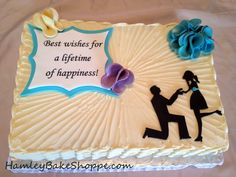 Engagement Cake with Silhouette