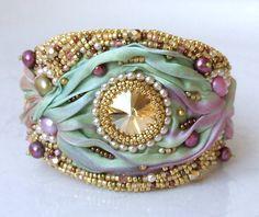 Bead Embroidered Shibori Silk Bracelet Bead by RedTulipDesign