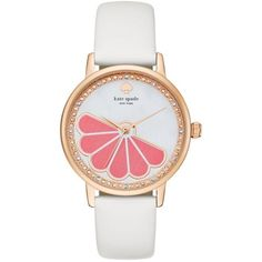 Kate Spade White Womens Metro Grapefruit White Watch - Women's ($225) ❤ liked on Polyvore featuring jewelry, watches, white, kate spade, white jewelry, white wrist watch, kate spade watches and kate spade jewelry