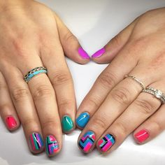 Neonzzzzz. Love these fun nails! #colors #neon #geometric #dallasbeautylounge #pittsburgh #nailart #nailedit by dallasbeauty_kalynn