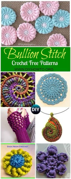 Collection of Crochet Bullion Stitch Free Patterns: Crochet Bullion Stitch Flowers, Square, Coasters, Blankets, fingerless gloves and video instruction via @diyhowto