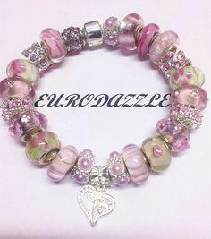 Authentic Pandora Charm bracelet one heartpink by eurodazzle, $70.00