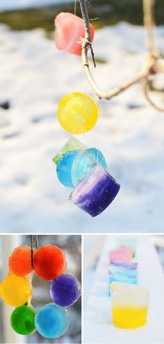 Ice Projects for Kids! I love activities like this, where kids can experiment with snow and cold weather. These Ice Colorful Ice Hangings would look amazing hanging from a branch.