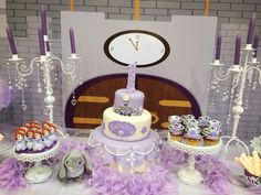 Cake and cupcakes at a Sofia the First party! See more party ideas at CatchMyParty.com! #partyideas #sofiathefirst