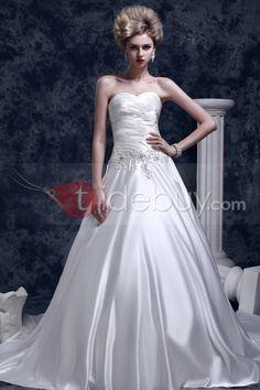 素敵Aライン/プリンセススイートハートチャペルトレインダーシャウェディングドレス(WEDS0001)