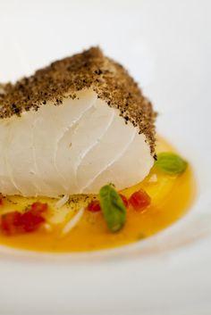 Pine cone smoked codfish with Pizzaiola sauce by Pino Cuttaia