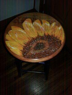 Acrylic Sunflower on stool.