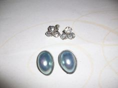 Vintage Blue and Silver Pearl Clip Back Earrings by HeartsMaddness, $32.00