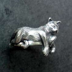 Max the Cat Ring - Handmade in Sterling Silver or 14k Gold