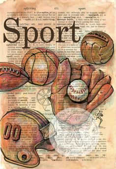 PRINT: Vintage Sports Equipment Mixed Media Drawing on Distressed, Dictionary Page via Etsy Papel Vintage, Vintage Paper, Vintage Art, Vintage Golf, Book Page Art, Book Art, Altered Books, Newspaper Art, Old Books