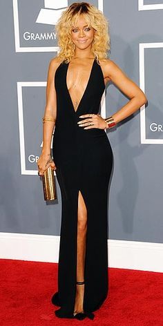 Rihanna in custom Giorgio Armani at the 2012 Grammy Awards