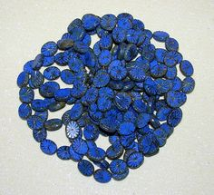 LOOSE CZECH PRESSED GLASS BEADS-BLUE-CARVED CHUNKY OVAL WHEELS-8 COUNT & GIFT-$5.29 | eBay