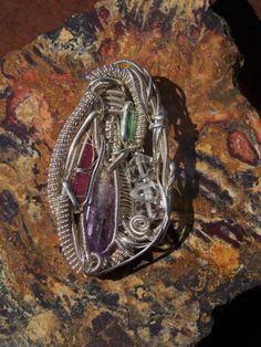 wire wrap pendant amethyst, tourmaline, herkimer diamond Jewelry Bazaars R Us