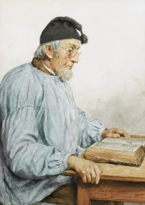 Reading Old Farmer - Albert Anker - The Athenaeum