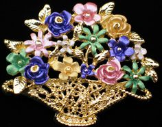 """PASTEL ENAMEL SPRING MOTHER'S DAY EASTER BOUQUETS FLOWER BASKET PIN BROOCH 2+"""" #Unbranded #PINBROOCHJEWELRY"""