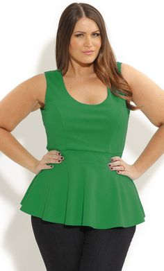 SCOOP PEPLUM TOP - Women's Plus Size Fashion