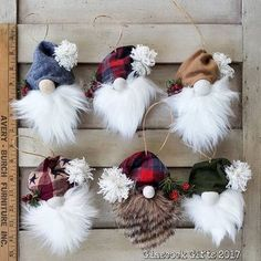 The gnome ornament collection thus far. Made woth pinecones, homespun, felt and clay. #glascockgifts #christmas #christmasornaments #gnomes #gnomeornaments #rustic #rusticchristmas #handmade #handmadechristmas