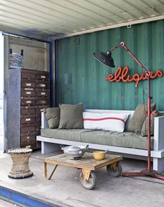 painted corrugated metal wall