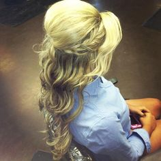 Wedding hair... love the braid on the side, then pull the rest of the hair one side for a low side pony