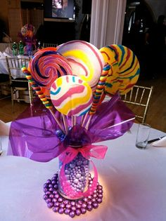 Candy Center Piece- Perfect for my daughters Candy Land Themed Birthday Party Bat Mitzvah Centerpieces, Candy Centerpieces, Lollipop Centerpiece, Wedding Centerpieces, Candy Table Decorations, Quince Decorations, Candy Land Theme, Bar A Bonbon, Sweet 16 Parties