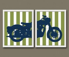 8x10 2 MOTORCYCLE PRINTS  Nursery Art Nursery Decor by CrabbyNicks, $28.00