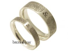Cool Rings! YOUR unique fingerprints!! Set of You and Me Forever Comfort Fit Fingerprint Wedding Bands - Custom handmade fingerprint jewelry by Brent&Jess Fingerprint Wedding Bands, Fingerprint Jewelry, Wedding Band Styles, Unique Wedding Bands, Fingerprints, Magic Box, Abundance, Jewelry Stores, My Forever