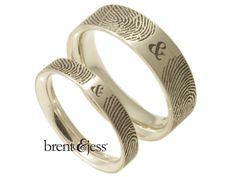 Cool Rings! YOUR unique fingerprints!! Set of You and Me Forever Comfort Fit Fingerprint Wedding Bands - Custom handmade fingerprint jewelry by Brent&Jess