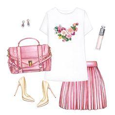 Printed T-shirt, pink bag, mini skirt, nude pumps