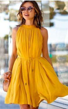 Vestido com tênis: saiba como usar Women Summer Casual Evening Party Beach Formal Dress Short Mini Dress Sleeveless Casual Dresses For Women, Cute Dresses, Short Dresses, Cute Outfits, Yellow Outfits, Maxi Dresses, Casual Outfits, Night Outfits, Mustard Yellow Outfit