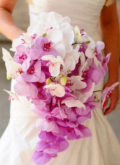 Purple + White Orchid Cascade Wedding Bouquet