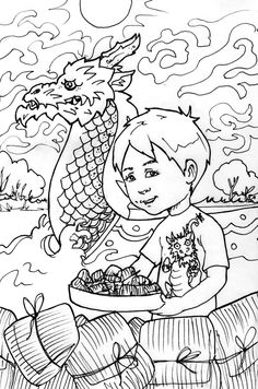 Dragon Boat Festival Coloring Sheet Kids Lucalashes